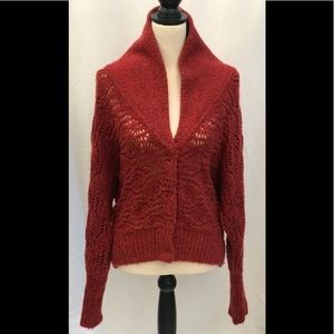 Free People Red Wool Button Down Sweater Size S